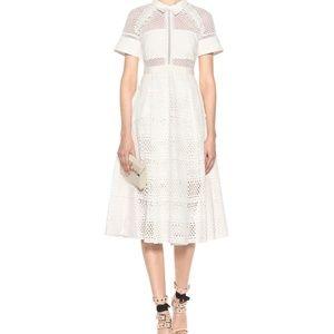 NWT Self-Portrait Raglan Detail Midi Dress (White)
